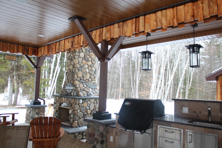 Pavillion fireplace and grill